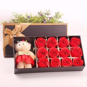 Menshow(メンズショウ) 母の日 花 熊のぬいぐるみ 石鹸の花 枯れない花 クマ付き 綺麗な花束 造花 ソープフラワー ローズフラワー 贈り物|komomoshop