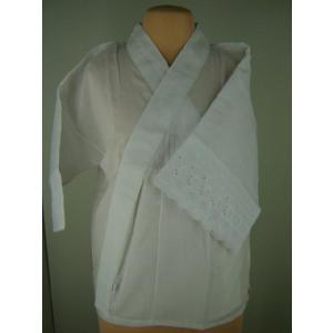 和装下着 広襟 晒半襦袢 レース袖付 Lサイズ...