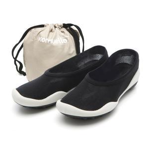 レディースシューズ 超軽量 フラットシューズ オフィスシューズ 「ポケットシューズ」 ポーチに入れ 持ち運び さまざまなシーンで 大活躍 女性靴(ブラック)|komuellopoketshoes