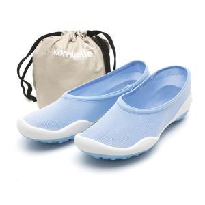 レディースシューズ 超軽量 フラットシューズ オフィスシューズ 「ポケットシューズ」 ポーチに入れ 持ち運び さまざまなシーンで 大活躍 女性靴(ブルー)|komuellopoketshoes