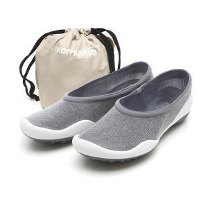 レディースシューズ 超軽量 フラットシューズ オフィスシューズ 「ポケットシューズ」 ポーチに入れ 持ち運び さまざまなシーンで 大活躍 女性靴(グレー)|komuellopoketshoes