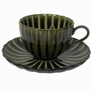 ぎやまん陶 利休グリーン コーヒーカップ&ソーサー 碗皿