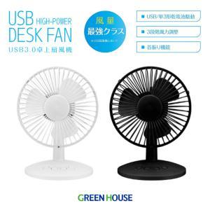 USB扇風機 風量最強クラス 自動首振り 手動で上下調整可 卓上 デスク コンパクト グリーンハウス GH-FANSWG|konan