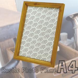 ラスティック A4フレーム ウッド 写真立て 写真スタンド 壁掛け A4サイズ 額縁 フレーム 飾り オシャレ H905|konan