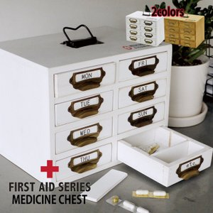 メディシンチェスト 引き出し 薬箱 救急箱 木製 常備薬保管 救急 ウッド 飲み忘れ防止 インテリア FIRST AID A154|konan