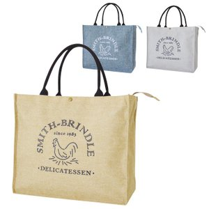 SMITH-BRINDLE ジュート風ショッピングバッグ 全3色 ショルダーバッグ お買い物 収納 保冷 保温 持ち歩き おしゃれ 現代百貨 A345|konan