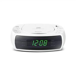 あすつく CDクロックラジオ CDプレーヤー FMワイドバンド 目覚まし時計 デュアルアラーム ホワイト WINTECH CDC-220|konan