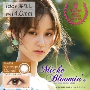 Miche Bloomin ミッシュブルーミン イノセントシリーズ ヴィンテージキャメル 度無し 1Day ワンデー 10枚入 ミッシュブルーミン 399000639|konan