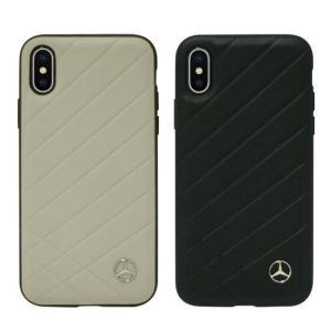 iPhoneXS iPhoneX 対応 5.8インチモデル ケース メルセデスベンツ 公式ライセンス品 Mercedes-Benz ハードケース 本革 PATTERN II ベンツ シンプル 高級感|konan