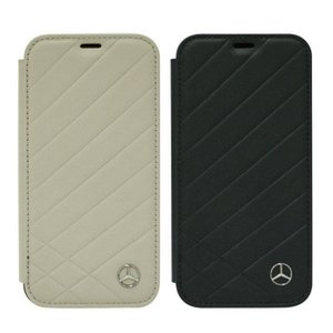 iPhoneXS iPhoneX 対応 ケース カバー メルセデスベンツ 公式ライセンス品 Mercedes-Benz 本革 手帳型ケース PATTERN II 二つ折り ベンツ シンプル 高級感|konan