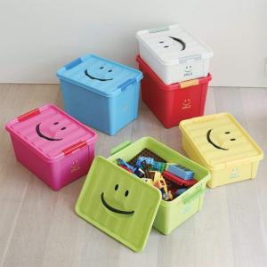あすつく 収納ケース 収納ボックス プラスチック ふた付き 押入れ収納 衣類収納 クリアボックス おもちゃ箱 ボックス ポリプロピレン スマイルボックス Lサイズ|konan