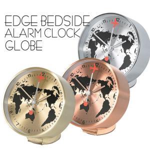 時計 目覚まし時計 アラームクロック EDGE BESIDE ALARM CLOCK GLOBE 小さめ 小型 めざまし時計 とけい 置時計 世界地図 飛行機|konan