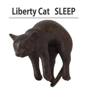 オブジェ 置物 装飾 リバティキャット SLEEP スリープ 猫 ねこ ネコ 置き物 ガーデン インテリア ディスプレイ どうぶつ 動物|konan