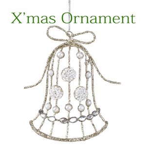 クリスマスオーナメント クリスマス装飾 ツリー飾り ツリー装飾 クリスマスグリッターオーナメント リボンベル クリスマス CHRISTMAS XMAS 飾り|konan