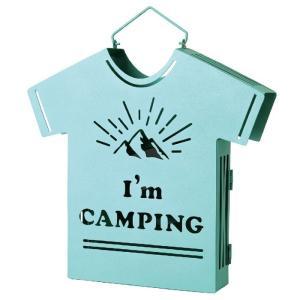 蚊取り線香入れ 蚊遣り 蚊やり アイアン蚊遣り  Im CAMPING ブルー Tシャツ型 蚊取り線香立て 蚊取り線香ホルダー おしゃれ 虫除け対策 キャンプ|konan