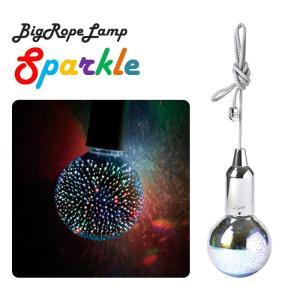 LEDビッグロープランプ スパークル ミラーボール風 直径95mm 照明 レインボー 七色 虹色 カラフル 生活防水 ライト 紐付き スパイス SFKH1920SV|konan