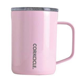 ステンレスマグカップ 400ml 保冷 保温 CORKCICLE COFFEE MUG Rose Quartz 16oz 400ml ピンク フタ付き コーヒーカップ マグ|konan