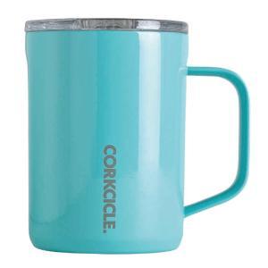 ステンレスマグカップ 400ml 保冷 保温 CORKCICLE COFFEE MUG Turquise 16oz 400ml ターコイズブルー フタ付き コーヒーカップ マグ|konan