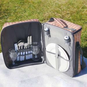 保冷バッグ クーラーバッグ 二人用食器付き ピクニックバスケット パニエ ショルダーバッグ ピクニック カトラリー付き カゴ風デザイン konan