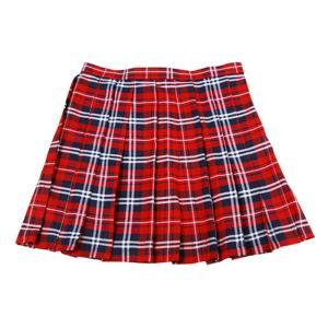 あすつく TEENS EVER 11SS スカート(朱赤×ネイビー×白)LLサイズ スクールスカート 制服スカート プリーツ 高校生 中学生 大きいサイズ 4560320833185|konan