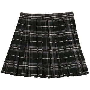 あすつく TEENS EVER 11AW チェックスカート(ブラック×グレー)Lサイズ スクールスカート 制服スカート プリーツ 女子 高校生 中学生 4560320837398|konan