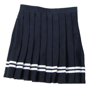 あすつく TEENS EVER 12SS スカート(ネイビーX白ライン)Mサイズ スクールスカート 制服スカート プリーツ レディース 高校生 中学生 4560320841197|konan