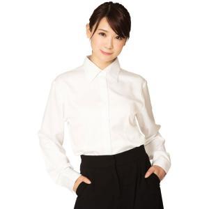 機能性ビジネスシャツ レギュラー レディース S〜LLサイズ 白 シャツ 形態安定 吸汗速乾 美シルエット OL キャリアウーマン クリアストーン CSBS-001|konan