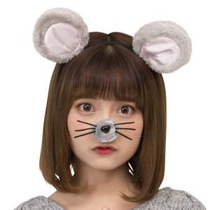 ねずみカチューシャセット 耳カチューシャと鼻のセット ネズミ ねずみ カチューシャ 子年 ねずみ年 2020年干支 年賀状写真 コスプレ|konan