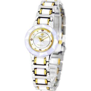 腕時計 セラミック4石天然ルビー付 18K金張りリューズ 高級 ブランド レディース J.HARRISON CCL-001WH|konan
