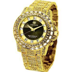 腕時計 電波時計 ソーラー時計 シャイニングソーラー電波時計 ゴールド ジョン・ハリソン いつでも正確な時間 定期的な電池交換不要 J.HARRISON JH-025GB|konan
