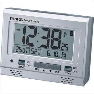 目覚まし時計 デジタル アラームクロック 電波式 グットライト 明暗センサー シルバー ノア精密 T-694SM-Z|konan
