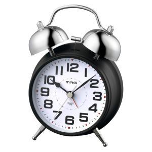 目覚まし時計 アナログ 置き時計 連続秒針 ツインベル アラーム スヌーズ ライト MAG ベルズドライブ ノア精密 T-742 BK-Z|konan
