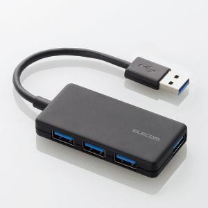 代引不可 4ポートUSB3.0ハブ(コンパクトタイプ)(USBサポートバージョン 3.0/2.0/1.1) ブラック エレコム U3H-A416BBK|konan