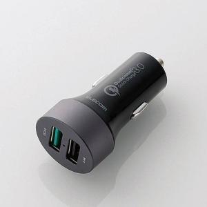 車載充電器(Quick Charge3.0・2ポート) ブラック エレコム MPA-CCUQ02BK|konan