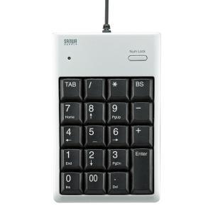 エクセルに便利なTABキー付き薄型テンキー USB2.0ハブ付きタイプ・簡易パッケージ USB2.0ハブ付テンキー シルバー サンワサプライ NT-16UH2PKN|konan