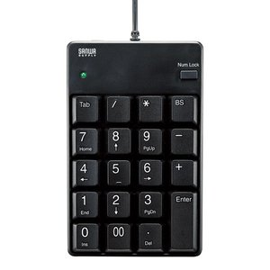 しっかりした押し心地のTAB付きテンキー USBテンキー ブラック サンワサプライ NT-17UBKN|konan