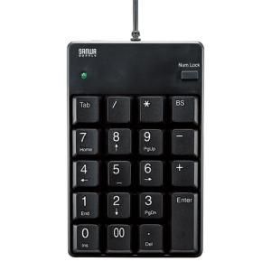 しっかりした押し心地のTAB付きテンキー USB2.0ハブ付きタイプ USB2.0ハブ付テンキー ブラック サンワサプライ NT-17UH2BKN|konan