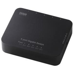 軽量 小型タイプのGiga対応5ポートスイッチングハブ コネクタキャップ付(5ポート・ブラック) サンワサプライ LAN-GIH5APN|konan