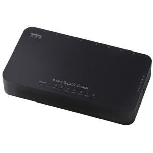 軽量 小型タイプのGiga対応8ポートスイッチングハブ コネクタキャップ付(8ポート ブラック) サンワサプライ LAN-GIH8APN|konan