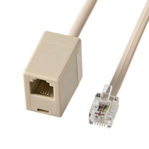 電話線 延長ケーブル RJモジュラーコンセントを延長できるケーブル 取り回しに便利 ベージュ 2m ...