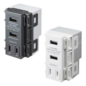埋込USB給電用コンセント AC付き 空港、ホテル、飲食店などの商業施設やオフィス、一般家庭のコンセントなどに サンワサプライ TAP-KJUSB2AC1|konan