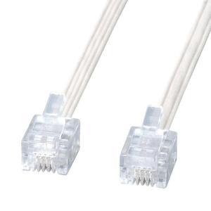 電話線 モジュラーケーブル 焼却時に有害なダイオキシンを発生しないスリム電話ケーブル ホワイト 5m サンワサプライ TEL-E4-5N2 konan
