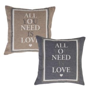 北海道・沖縄・離島配送不可 代引不可 クッション 45x45cm ラブ デザインクッション 正方形 ALL YOU NEED IS LOVE インテリア|konan