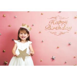 イエスタ Happy Birthday ピンクゴールド フォトポスター インスタ ポスター 壁紙 背景 記念 写真 撮影 クリアストーン CSSET-01|konan