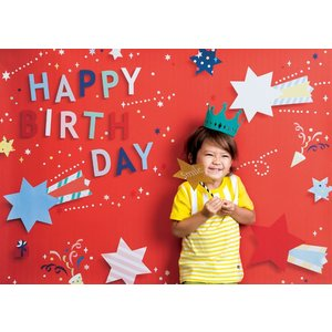 イエスタ Happy Birthday ポップスター レッド フォトポスター インスタ ポスター 壁紙 背景 記念 写真 撮影 クリアストーン CSSET-07|konan