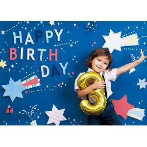 イエスタ Happy Birthday ポップスター ブルー フォトポスター インスタ ポスター 壁紙 背景 記念 写真 撮影 クリアストーン CSSET-08|konan
