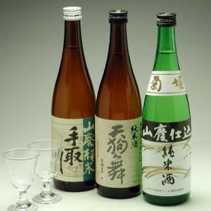 石川県の地酒 人気蔵山廃純米三種セットグラス付き|konchikitai