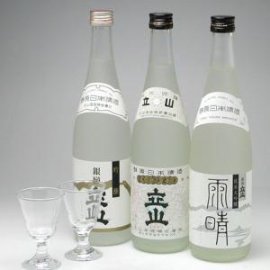 富山県の地酒 銀嶺立山 吟醸三種セット グラス付き|konchikitai
