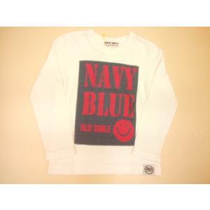 セール BAJA(バハ) NAVY BLUE ダンガリー貼り付け長袖Tシャツ/スマイル/ニコちゃん/長袖/80cm/90cm/100cm/110cm/120cm/130cm|konyankobrando-kids