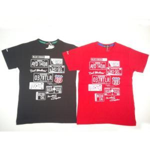 【半額処分!!】【セール】BLUECROSS(ブルークロス)★かっこいいナンバープレートプリントの半袖Tシャツ|konyankobrando-kids